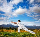 Yoga warrior pose in mountains — Stock Photo