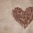 Stock Photo: Heart from coffee beans
