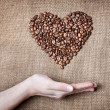 Woman holding coffee Heart — Stock Photo