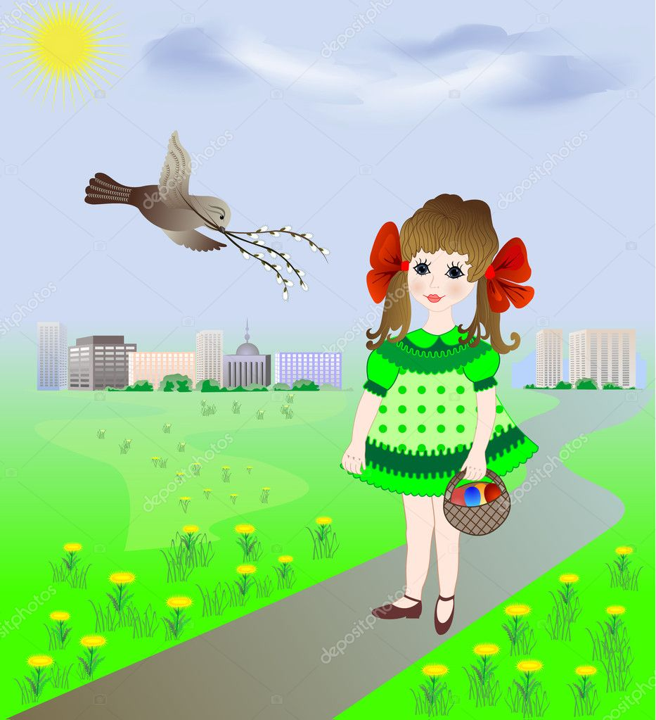 Bird welcomes the girl carrying a dyed Easter eggs in the basket — Stock Vector #9929930