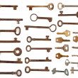 Collection antique and modern keys - Stock Photo