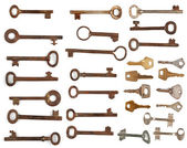 Collection antique and modern keys — Stock Photo