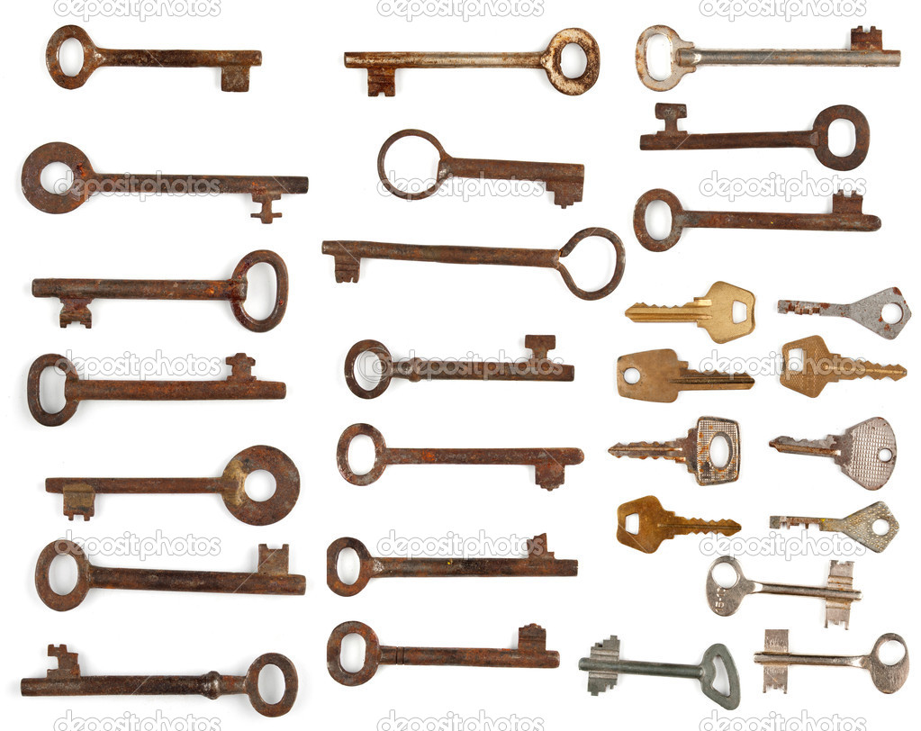 Collection antique and modern keys — Stock Photo #10447109