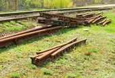 Unidentified railroad tracks and railway points,switch — Stock Photo