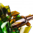 Waste glass.Recycled.Shattered green and brown bottle — Stock Photo