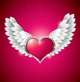 Heart with Angel Wings — Stock Vector