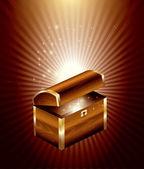 Wooden Treasure Chest — Stock Vector