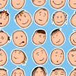 Seamless pattern with cartoon faces — Image vectorielle