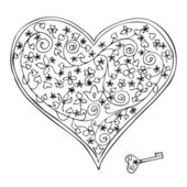 Heart-shaped lock and key — Stock Vector