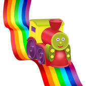 Rainbow and funny locomotive — Stock Vector