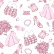 Rose and white wedding seamless pattern — Stock Vector