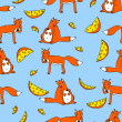 Royalty-Free Stock Vector Image: Seamless pattern with foxes and cheese