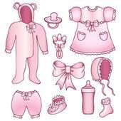 Set of baby girl accessories — Stock Vector