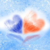 Loving hearts in the cold — Stock Photo