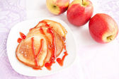 Thick pancakes with sweet syrup — Stok fotoğraf