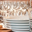 Stock Photo: Glass and plate on table