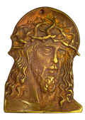 Bronze bas-relief with head of Jesus Christ — Stock Photo