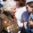Old veteran woman on victory day — Stock Photo