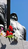 Flowers near the monument on victory day — Stock fotografie
