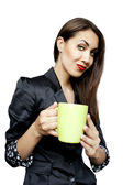 Businesswoman drinking coffee — Stock Photo