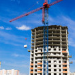 Crane and the house under construction against the blue sky with white clouds in the summer sunny day — Stock Photo #10445968