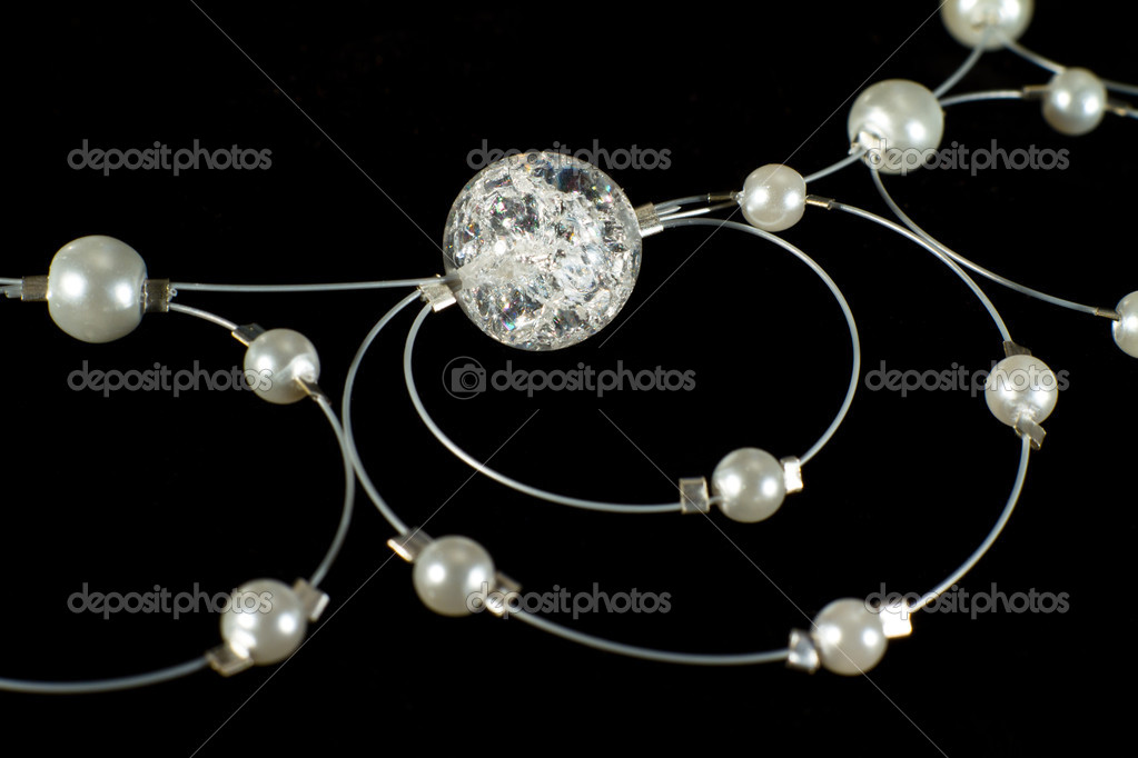 Necklace on a black background. Hand made. — Stock Photo #10251155