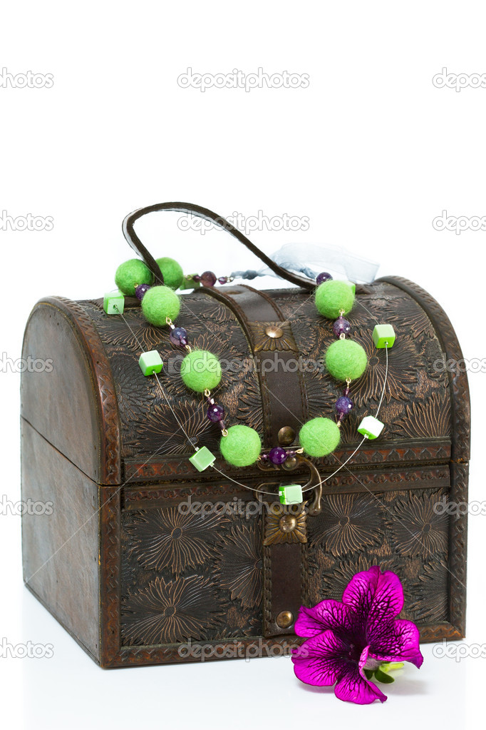Antique old wooden jewelry box with necklace  Stock Photo #10356383