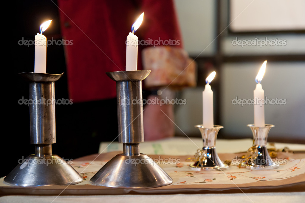 Four candles on the table  Foto Stock #8589274