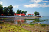 Shallow Finnish Gulf in Petrodvorets with Monplezir palace in the background. — Stock Photo