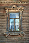 Traditional window in Russian house — Stock Photo