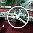 Old retro car interior - Stok fotoğraf