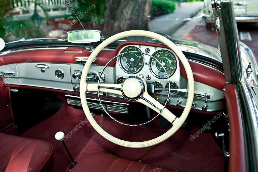 old retro car interior stock photo magicinfoto 8417239. Black Bedroom Furniture Sets. Home Design Ideas