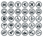 Conjunto de iconos de vector transporte — Vector de stock