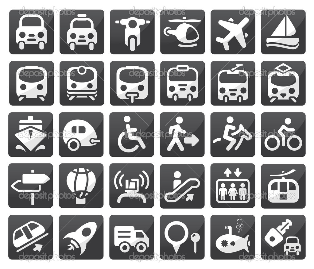 Set of vector transport icon — Stock Vector #8474019