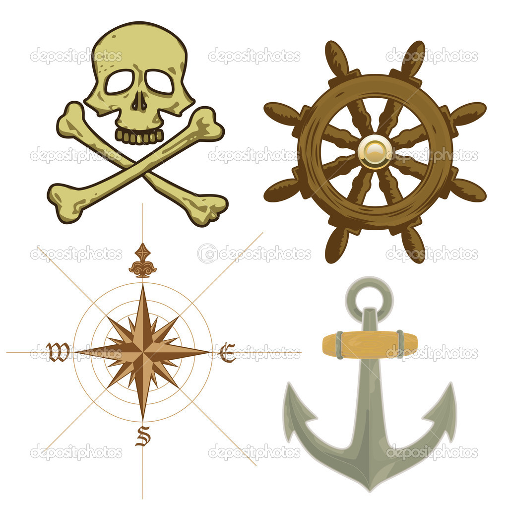 Vector pirate sailing detailed icons — Stock Vector #8749005