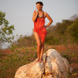 Beautiful  woman standing on a rock - Foto Stock