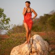Beautiful woman standing on a rock — Stock Photo #9099635