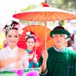 CHIANG MAI, THAILAND - FEBRUARY 4: Traditionally dressed couple - Zdjęcie stockowe