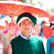 Stock Photo: CHIANG MAI, THAILAND - FEBRUARY 4: Traditionally dressed young m