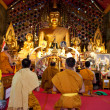 CHIANG MAI, THAILAND - FEBRUARY 4: Buddhist monks praying on eve - Stock Photo
