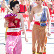 Stock Photo: CHIANG MAI, THAILAND - FEBRUARY 4: Traditionally dressed girls i