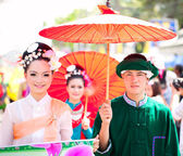 CHIANG MAI, THAILAND - FEBRUARY 4: Traditionally dressed couple — Stock Photo