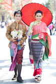 CHIANG MAI, THAILAND - FEBRUARY 4: Traditionally dressed Thai co — Stock Photo