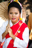 CHIANG MAI, THAILAND - FEBRUARY 4: Traditionally dressed smiling — Stock Photo