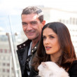 Royalty-Free Stock Photo: MOSCOW - July 16: Antonio Banderas and Salma Hayek arriving at t