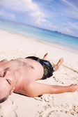 Man Sunbathing — Stock Photo