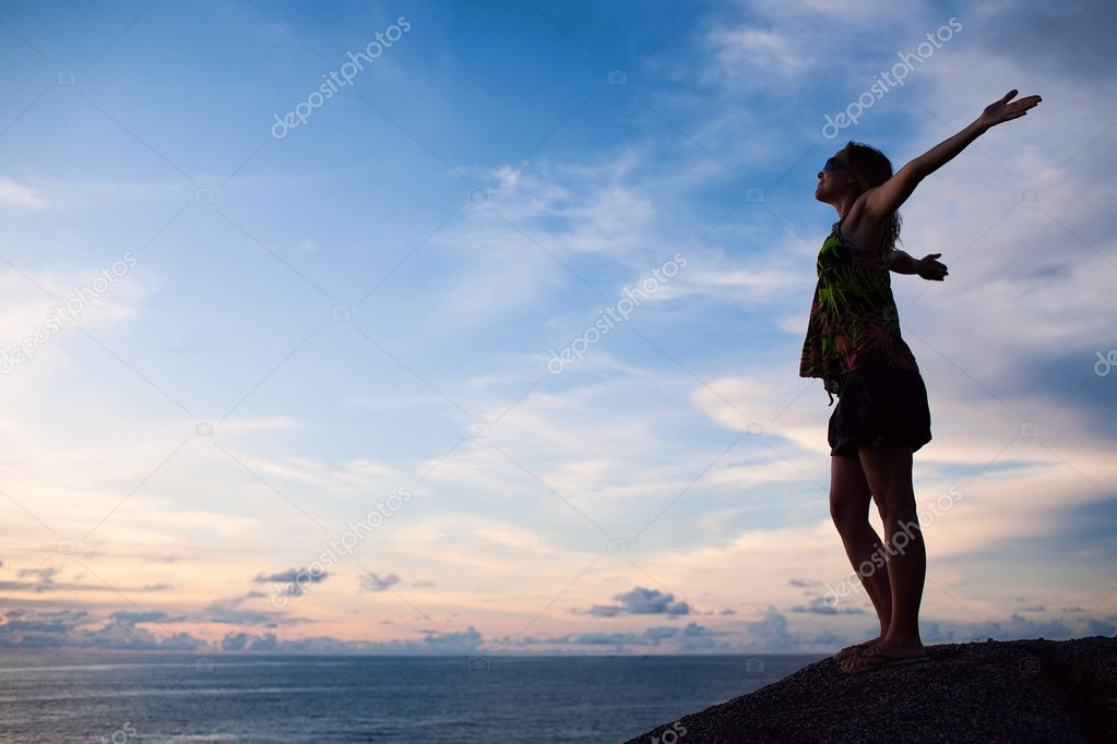 Woman on the Beach, Success Freedom Concept. — Stock Photo #9292151