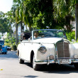 Mercedes 220S on Vintage Car Parade - Stock Photo