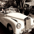Mercedes Benz 220S cabriolet on Vintage Car Parade - Stock Photo