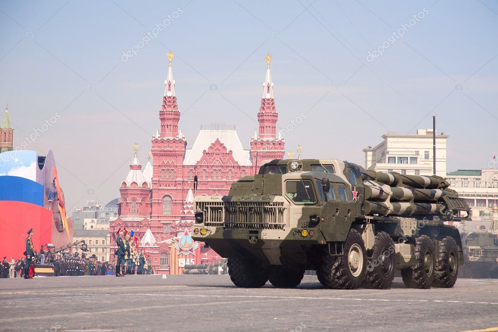 MOSCOW - MAY 9: Multiple launch rocket systems Smerch. Military Parade on 65th anniversary of Victory in Great Patriotic War on May 9, 2010 on Red Square in Moscow, Russia — Stock Photo #9315737